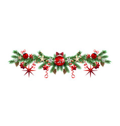 Decorative borders with pine branches vector