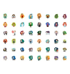 Different cartoon people characters big set vector image