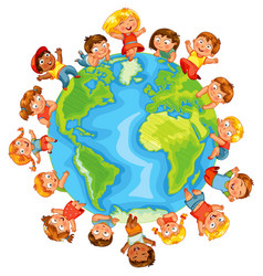 earth day cute little kids vector image