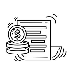 ecommerce financial icon hand drawn icon set vector image