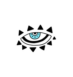 Evil eye drawing in esoteric mystic style vector