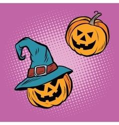 Evil Halloween pumpkin hat pilgrim vector image
