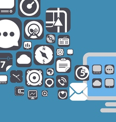 Flying web graphic interface icons vector image