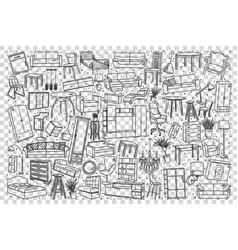 furniture doodle set vector image