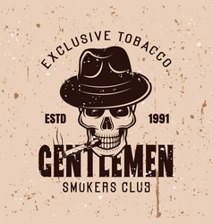 gentlemen smokers club vintage emblem vector image
