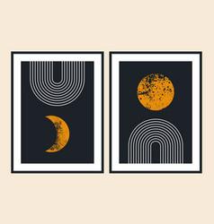 Geometric line balance shapes rainbow moon sun vector