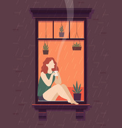 Girl at window with coffee windows person enjoy vector
