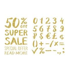 Gold glittering alphabet - numbers figures vector