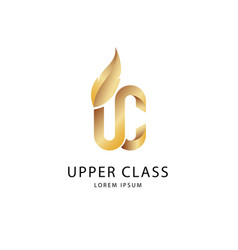 Gold on white upper class logo vector