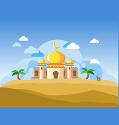Golden dome mosque in desert vector