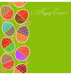 greeting card with different easter eggs vector image