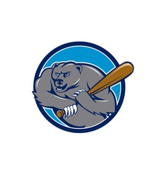 Grizzly Bear Baseball Player Batting Circle vector image