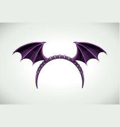 halloween head band with dark bat wings vector image