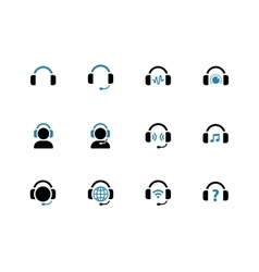 Headphone duotone icons on white background vector