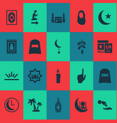 holiday icons set with church hajj headscarf and vector image