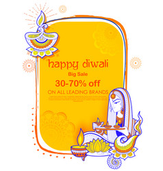 Lady burning diya on happy diwal holiday sale vector