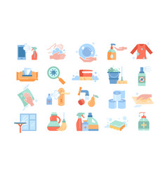 large set disinfection or sanitising icons vector image