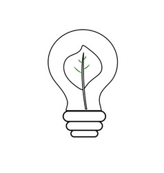 Line energy bulb with leaf inside to environment vector