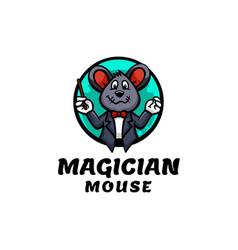 logo magician mouse mascot cartoon style vector image