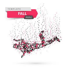 man falls and jumps - color dot vector image