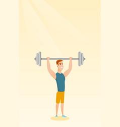 Man lifting barbell vector