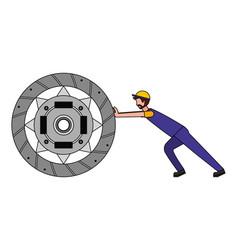 Mechanic pushing clutch plate auto part design vector