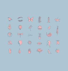 Modern pen line graphic elements blue vector