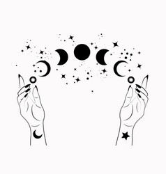 Mystical moon phases and woman hands triple moon vector