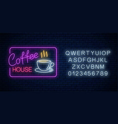 neon coffee time glowing sign in rectangle frame vector image