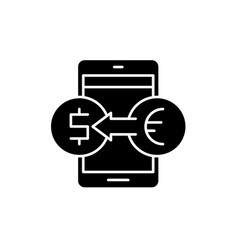 online currency exchange black icon sign vector image