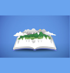 open book with 3d papercut forest landscape vector image