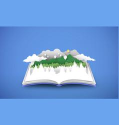Open book with 3d papercut forest landscape vector