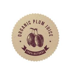 organic plum juice paper emblem vector image