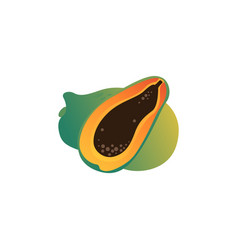papaya exotic tropical fruit cartoon icon vector image