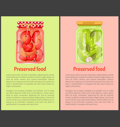 Preserved food poster pickled chilli and cucumbers vector