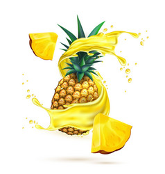 Realistic pineapple juice splash slice vector
