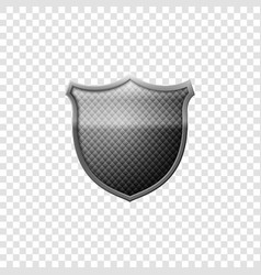 realistic silver shield emblem isolated object vector image