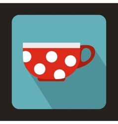 Red cup with white dots icon flat style vector