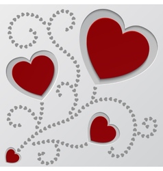 Red paper hearts Valentines day card vector