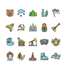 Russia travel and tourism color thin line icon set vector