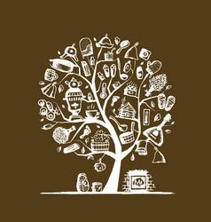 russian sauna art tree sketch for your design vector image