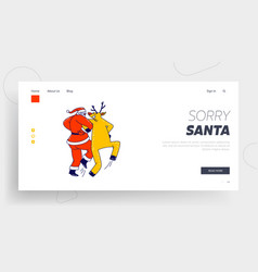 santa claus and reindeer dancing holding hands vector image