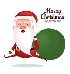 Santa claus run bag gift merry christmas design vector