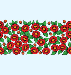 seamless red full floral brush vector image