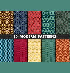 set abstract modern pattern design colorful vector image