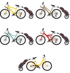 set bike trailer vector image