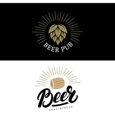 Set of beer hand written lettering logos labels vector