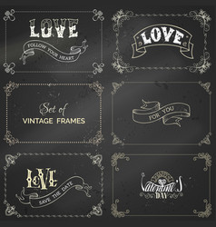 set of chalk vintage frames on blackboard vector image