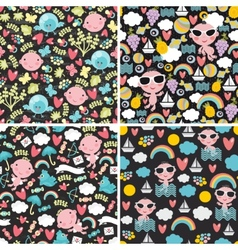Set of cute seamless patterns with happy babies vector