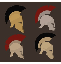 Set of four antique helmets vector image